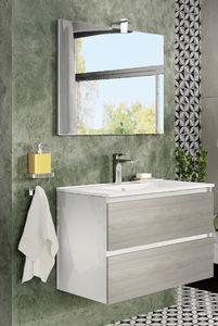 Lobo Arin 80 2 fiókos fürdőszobabútor + mosdó, tükör, led lámpa