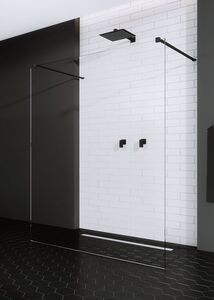 Radaway Modo New Black I 160 Walk-in fekete zuhanyfal átlátszó üveggel