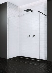 Radaway Modo New Black II 125 Walk-in fekete zuhanyfal átlátszó üveggel