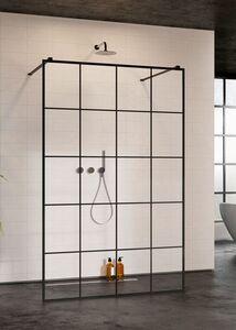 Radaway Modo New Black I Factory 130 Walk-in fekete zuhanyfal átlátszó üveggel