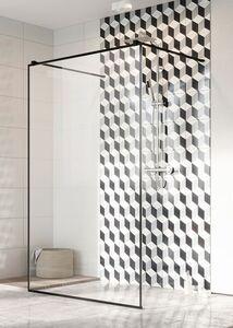 Radaway Modo New Black I Frame 130 Walk-in fekete zuhanyfal átlátszó üveggel