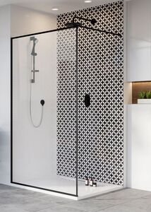 Radaway Modo New Black II Frame 130 Walk-in fekete zuhanyfal átlátszó üveggel