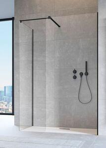 Radaway Modo New Black II 75 III Walk-in fekete zuhanyfal átlátszó üveggel