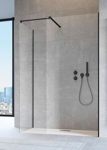 Radaway Modo New Black II 130 III Walk-in fekete zuhanyfal átlátszó üveggel