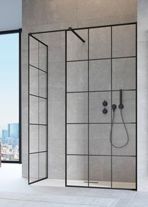 Radaway Modo New Black II Factory 75 III Walk-in fekete zuhanyfal átlátszó üveggel