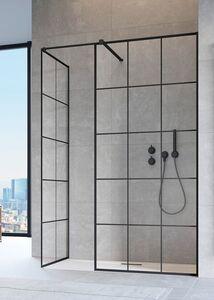 Radaway Modo New Black II Factory 125 III Walk-in fekete zuhanyfal átlátszó üveggel
