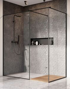 Radaway Modo New Black II Frame 95 III Walk-in fekete zuhanyfal átlátszó üveggel