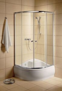 Radaway Classic A 1700 íves 80 zuhanykabin, króm profil, átlátszó üveges