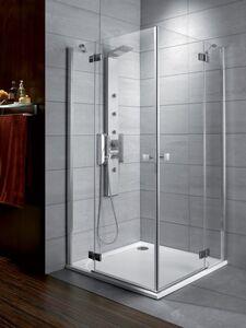 Radaway Almatea KDD 90B×90J szögletes aszimmetrikus zuhanykabin átlátszó üveges