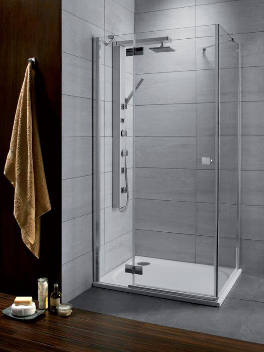 Radaway Almatea KDJ 80 B* × 90 szögletes aszimmetrikus zuhanykabin átlátszó üveges