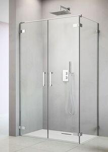 Radaway Arta S DWD+S 40 B szögletes aszimmetrikus zuhanykabin ajtó, sarok zsanérral, átlátszó üveges