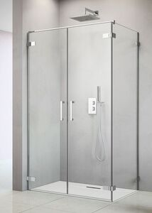 Radaway Arta S DWD+S/2S 45 J szögletes aszimmetrikus zuhanykabin ajtó, sarok zsanérral, átlátszó üveges