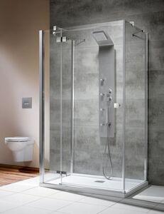 Radaway Almatea KDJ+S 90×90 J×90 szögletes háromoldalú zuhanykabin átlátszó üveges