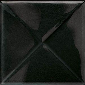 Cersanit Textile Flower Glass Black Inserto New Dekorcsempe  20x20